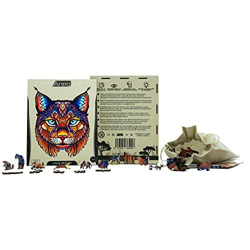 Puzzle de Madera Animales para Adultos, Tamaño A4, Incluye Poster - Rompecabezas para niños | Pasatiempos Familiar (Lince Ibérico) 121 Piezas