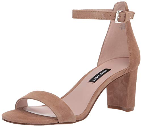 NINE WEST Womens Pruce Block Heeled Sandal Latte 10 M