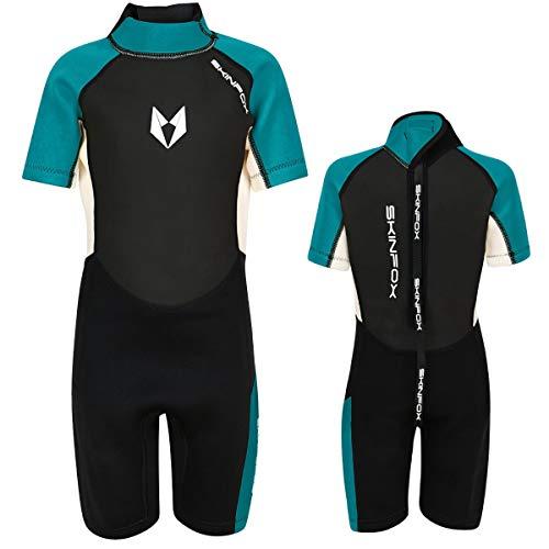 SKINFOX Scout 2-16 J. Kinder Shorty Neoprenanzug Schwimmanzug Gruen Farbe Gruen, Groesse 8 (132_140)