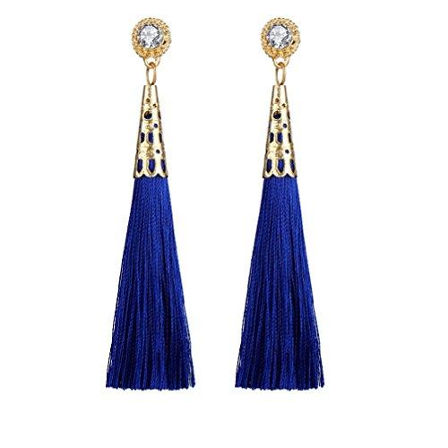 Fiesta De Bodas Pendientes Borla Mujer Elegante Pendientes Mujer Largos, FAMILIZO Estilo vintage Rhinestones Crystal Tassel Dangle Stud Pendientes de joyería de moda (Azul)