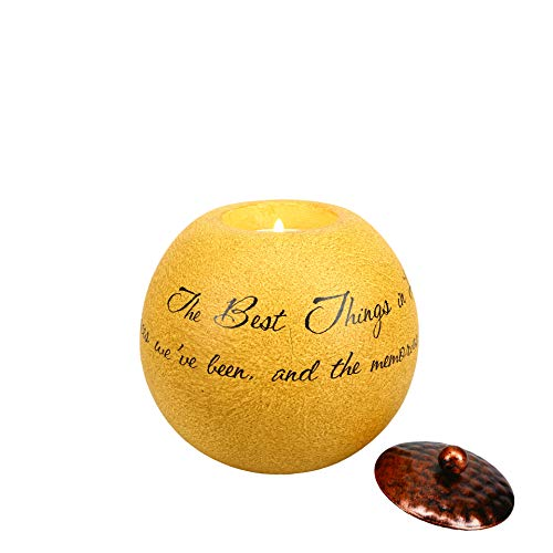 Comfort Candles The Best Things in Life by Pavilion Includes Tea Light Candle, 4-1/2-Inch Round, Sentimental Saying