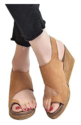 Sandalias ortopédicas para mujer, verano, sandalias con cerrojo para juanetes, sandalias cómodas con plataforma de cuña, punta con clip, talón inclinado, zapatos para caminar en la playa, corrector in