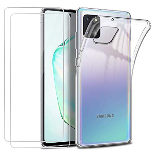Cover per Samsung Galaxy Note 10 Lite,Morbido Trasparente TPU Silicone Protettiva Custodia con Due [9H Durezza] [Senza Bolle] Vetro Temperato Pellicola Protettiva per Samsung Galaxy Note 10 Lite 6,7