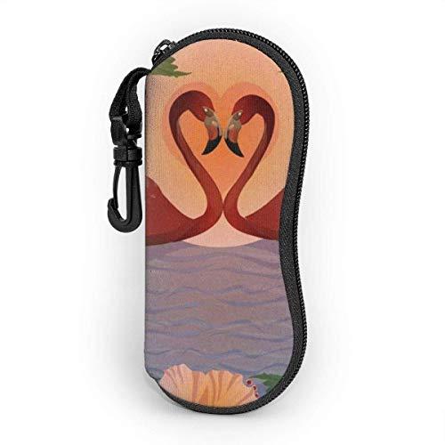 Estuche blando para gafas de sol Estuche protector portátil ultraligero con clip para cinturón, románticos flamencos rojos y patrón de luna