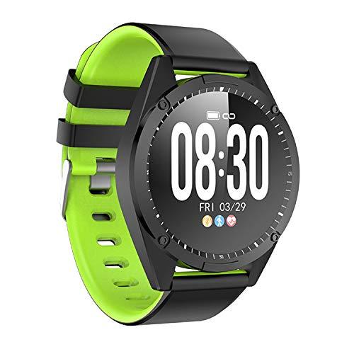 TYOP Reloj Inteligente, Pantalla de 1.3 Pulgadas, Rastreador de Fitness, Pulsera de Pedómetro Deportivo, Pulsador de Mensajes, Recordatorio Inteligente, IP67 Impermeable, 200mAh (Color : Green)