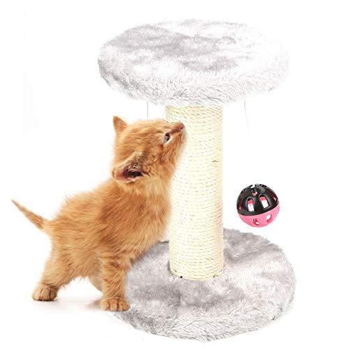 HEEPDD Katze Kratzbaum, kleine Kratzbaum mit Top Runde Rest Bett Haustier Kletterbrett hängen Ball Maus Spielzeug für Kitty kleine Katzen (Hellgrau)