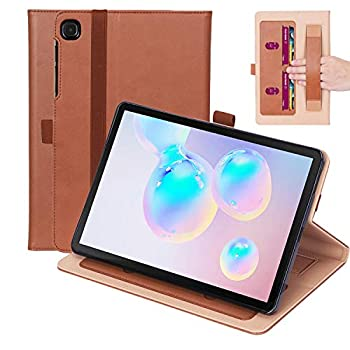 Timewall Multi-Angle Stand Case for Samsung Galaxy Tab S6 Lite 10.4 Inch 2020 SM-P610 SM-P615 with Hand Strap Card Cash Slots Elastic Band Pen Holder PU Leather Smart Full Cover Brown