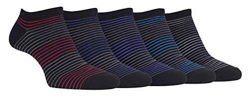 FARAH® - 6er Pack Herren Baumwolle Kurz Sneaker Socken mit Bunt Gestreift Muster (39/45, CS176BLK)