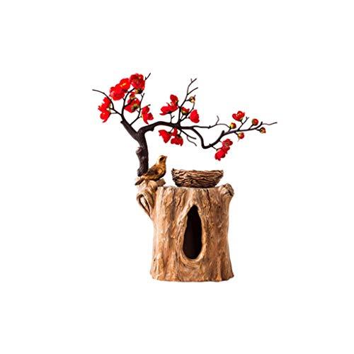 Creatividad Disposición de Flores Caja de pañuelos Resina Escritorio de Escritorio Tapa de Almacenamiento Cubierta Dispensador de Tejido Facial 7.9'x5.5 x10.2 (Color : Light Brown Flower Red)