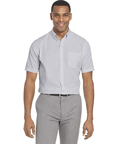 Van Heusen Men's Wrinkle Free Short Sleeve Button Down Check Shirt, Bright White Minicheck, XX-Large