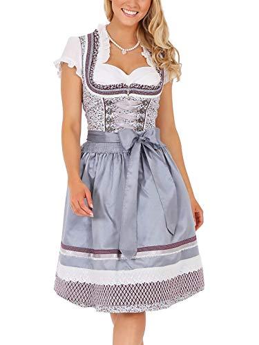 Krüger Damen Dirndl Mini, Modell: Dirndl Scarlett (60 cm), Knielang, 60cm, Art.-Nr. 047826-0-0044, 40, grau