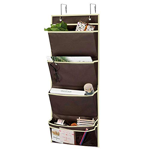 4 Pockets Over the Door Organizer Storage Hanging with 1 Small Clear Pocket, Wall Mount Office Supplies File Document Holder with 2 Stainless Steel Hooks for Notebooks, Paper, School, Families (Brown)