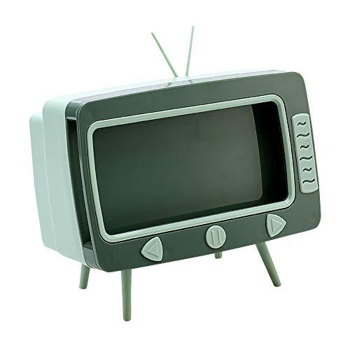 Gobesty - Scatola porta fazzoletti da scrivania, creativa, moderna scatola porta fazzoletti multifunzione a forma di TV con porta cellulare per casa, ufficio, scrivania, soggiorno, bagno