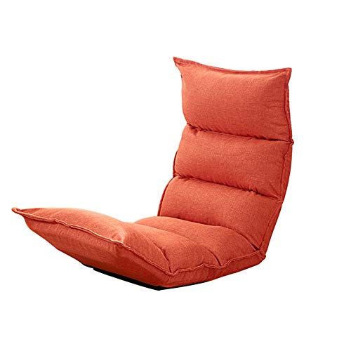 Feifei Chaise de Plancher Chaise de Jeu Pliable Chaise de Plancher réglable Fauteuil Paresseux canapé Balcon (Couleur : Orange)