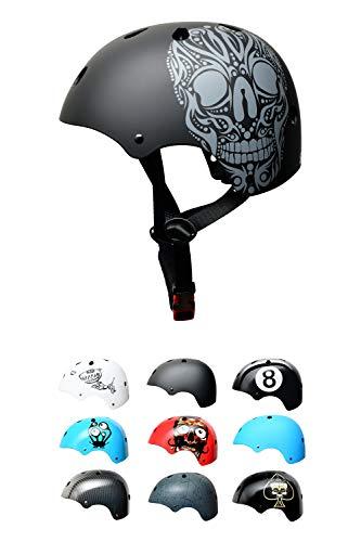 Skullcap BMX Helm - Skaterhelm - Fahrradhelm Totenkopf - Herren Damen Jungs & Kinderhelm,schwarz matt, Gr. S (53 - 55 cm), Skull