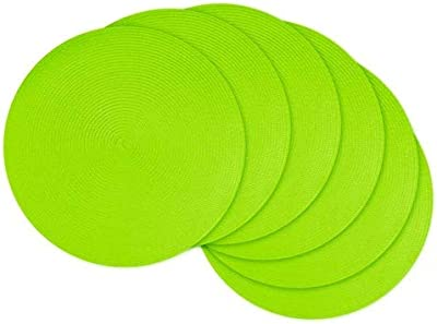 Amazon Com Dii Classic Woven Round Placemats 15 Diameter Lime 6 Count Home Kitchen