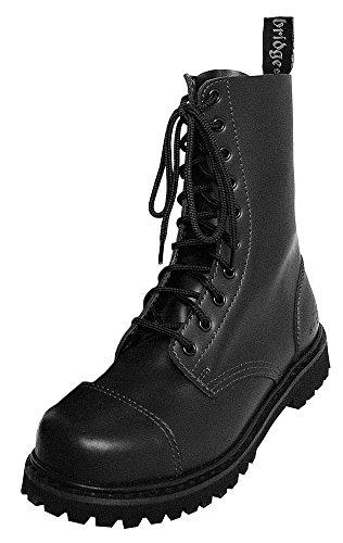 Knightsbridge 10 Loch Gothic Stiefel mit Stahlkappe Kampfstiefel Schuhe Schwarz verschiedene Größen