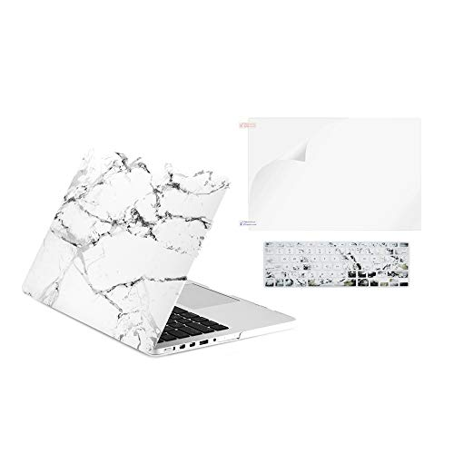 TOP CASE - 3 in 1 Graphics Rubberized Hard Case + Keyboard Cover + Screen Protector Compatible with Older Generation MacBook Pro 13' Retina Display A1425 / A1502 (Release 2012-2015) - Marble White