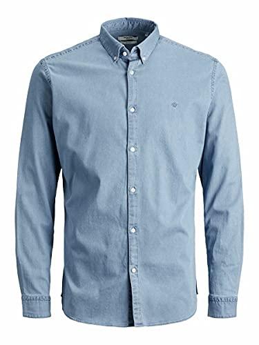 Jack & Jones Jprblalogo Stretch Denim Shirt L/S STS Camisa, Azul Vaquero Claro. Ajuste: Corte Ajustado, L para Hombre