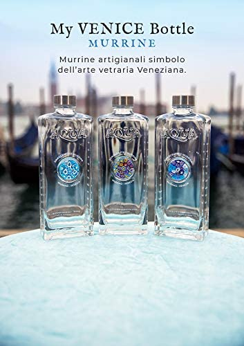 Elegante Botella de Agua de 1 litro de Vidrio Art/ístico Venecia con Medallones de Vidrio Murrina Artesanal y Cer/ámica Artesanal