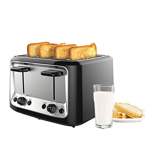 CFMJLZY 4 Slice Long Slot Toaster Best Rated Prime,Stainless Steel Bread Toasters(Warming Rack,6 Bread Shade Settings, Defrost/Reheat/Cancel Function,Extra Wide Slots,Removable Crumb Tray,1500W)