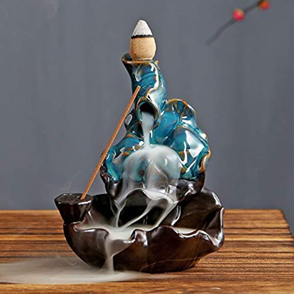PHILOGOD Blue Ceramics Backflow Incense Burner Stick Holder Aromatherapy