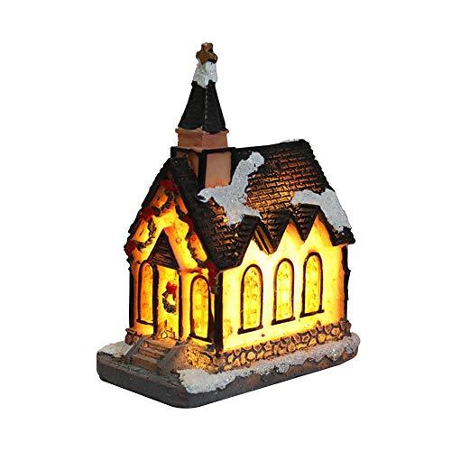 Mississ Weihnachts-Ornament-Harz-Haus-Tischszene mit Led-Licht-Weihnachtsdekorations-kreativem Geschenk
