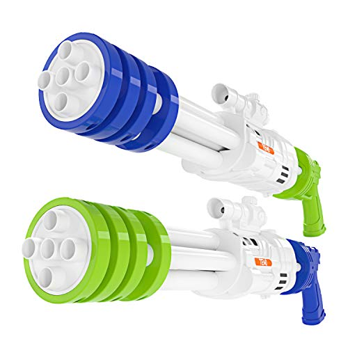 TEMI Super Water-Blaster Squirt Water-Guns - 2 Pack 22.4   Large Water Soaker Blaster w  5 Nozzles Shooting 50ft, Big Water Pistol for Outdoor Activities, Swimming Pool Toys for Kids Boys & Adults
