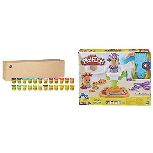 Oferta de Play-Doh, Pack 24 Botes Hasbro 20383F03 + La Barberia (Hasbro E2930EU6)