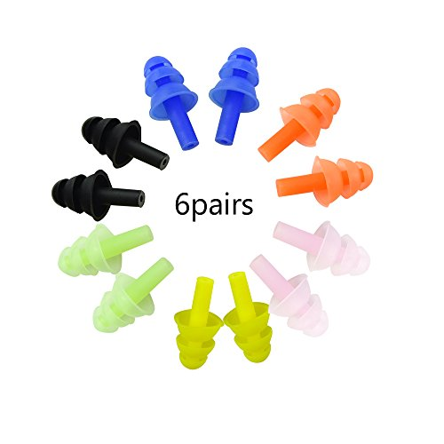Honbay 6Pairs Reusable Silicone Swimming Earplugs Soft and Flexible Ear Plugs for Swimming, Learning, Hearing Protection, Concerts, Airplanes, Shooting, etc