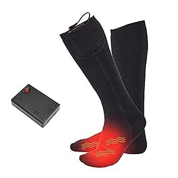 WUHNGD Chaussettes chauffantes électriques chauffantes à piles en coton épais pour homme et femme rechargeables et lavables pour le ski et la randonnée