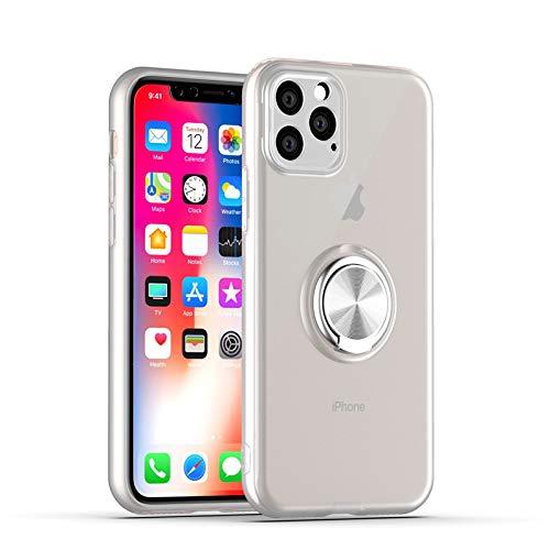GOBY Coque iPhone 11 Pro Max, Slim Fit TPU avec Support de BagueSilicone Gel Anti Mince Placage Bumper Housse Lustre Métal 360° Bague Support Téléphone Voiture Etui (BLANC)