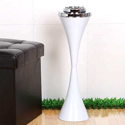 GWF Cenicero de baño de pie Vertical con Tapa Personalidad Creativa Elevador de ktv Aseo Cenicero en la Sala de Estar (Color : Blanco)