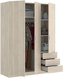 HABITMOBEL Armario Juvenil 3 Puertas + 3 cajones Abatibles 121 cm de Ancho Alto 184cm Color Natural