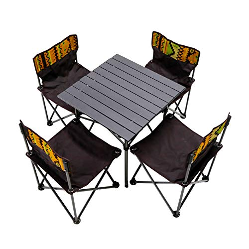 DL CO. Mesa y sillas plegables, mesas y sillas de pícnic portátiles de exterior, mesa de camping barbacoa de aleación de aluminio con guía autónoma (negro)