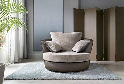 Dylan Abakus Direct Byron Corner Group Sofa Brown and Beige Right or Left (Swivel Chair)