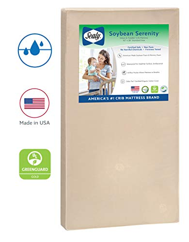 "Sealy Baby Soybean Serenity Foam-Core Waterproof Standard Toddler & Baby Crib Mattress - Hypoallergenic Soy Foam, 52"" x 28"""