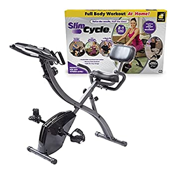 As Seen On TV Slim Cycle Stationary Bike by Bulbhead Most Comfortable Exercise Machine Thick Extra-Wide Seat & Back Support Cushion Recline or Upright Position Twice the Results in Half the Time