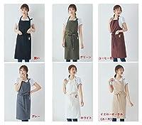 エプロン 100%リネン カフェ風 シンプル ポケット付き 家庭用エプロンは男女兼用の6色 (白いすじ)