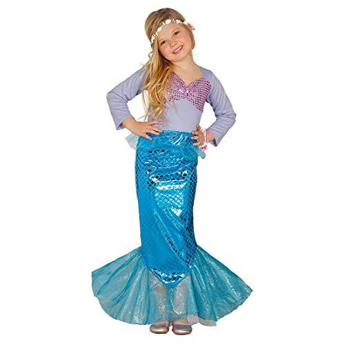 NET TOYS Niedliches Meerjungfrauen-Kostüm für Mädchen - Violett-Türkis 5 - 6 Jahre, 110 - 115 cm - Zauberhafte Kinder-Verkleidung Wasser-Nixe - Perfekt geeignet für Kinder-Fasching & Karneval