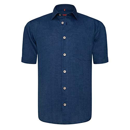Preisvergleich Produktbild Signum - Frischegarantie! Blaues Two-Tone ICON Leinenhemd - Dunkelblau - Classic Fit