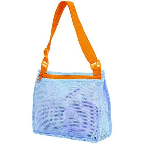 TangYang - Bolsa de Red para Almacenamiento de Juguetes de Playa, Bolsa de Malla para Juguetes para niños, Bolsa de colección de Conchas de Playa con Cremallera, Bolsa de Malla para Almacenamiento