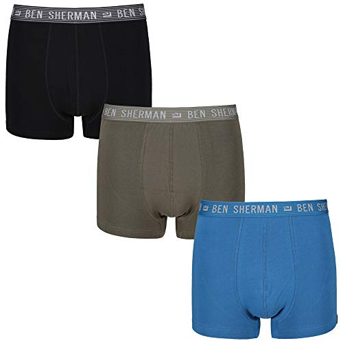 Ben Sherman Herren Trunk Beckham 3er Pack Khaki/Blue/Black, Wäschegröße:S