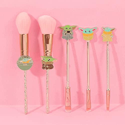 Baby Yoda Makeup Brushes Set - 5pcs Professional Classic Movie Series Cosmetic Brushes Foundation Blending Blush Eye Shadows Face Powder Brushes Kit for Fans (Pink)