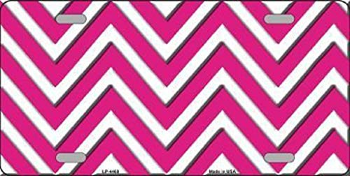 SENMIYX Pink White Large Chevron Print Blank Metal License Plate 6' x 12' Tag Sign Blanks
