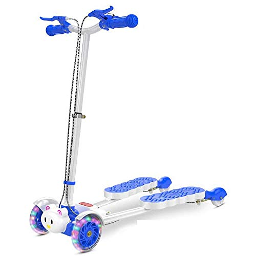 Save %37 Now! High Carbon Steel Alloy Scooter Stunt with 4 LED Wheels,Blue Foldable Scooter Large Wheels for Toddlers Girls Boys