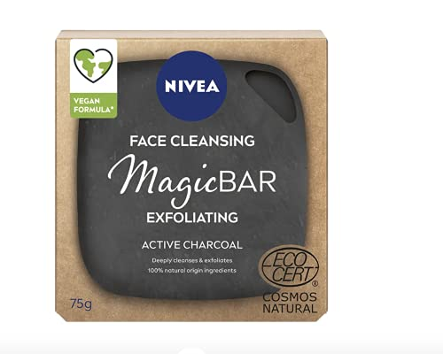 NIVEA MagicBAR Peeling-Aktivkohle Gesichtsreinigungsstab (75g), Gesichtsreinigungsstab aus Aktivkohle, plastikfreie Gesichtsreinigungsstange, Gesichtsreiniger mit recycelbarer Verpackung