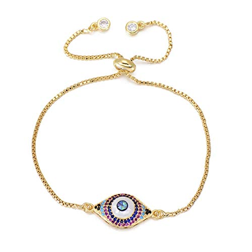 Bath chair Gorgeous Lucky Evil Eye Bracelet Jewelry Men And Women Natural Colorful Shell Zircon Charm Bracelet Gift CHFYG (Color : Gold)