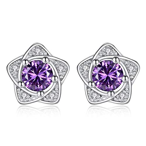 Wiftly Earrings Women's Girls Silver 925 with Zirconia Glitter Stars Stud Earrings Small Studs Fashion Jewellery Gifts for Christmas Birthday Hypoallergenic