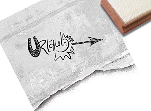 Stempel Urlaub mit Sonne, Handschrift - Textstempel Grüße aus dem Urlaub Karten Urlaubspost Fotobuch Reise-Gutschein Deko Scrapbook - zAcheR-fineT